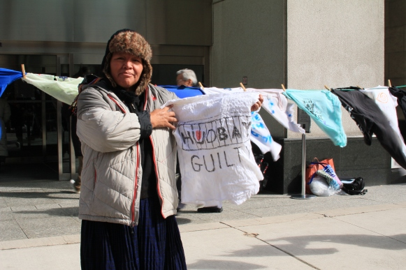 "Angelica Choc, one of the claimants in the case against Canadian company Hudbay, joining supporters outside of the Toronto courtroom in March 2013 where Hudbay's ""dirty laundry"" was on display"